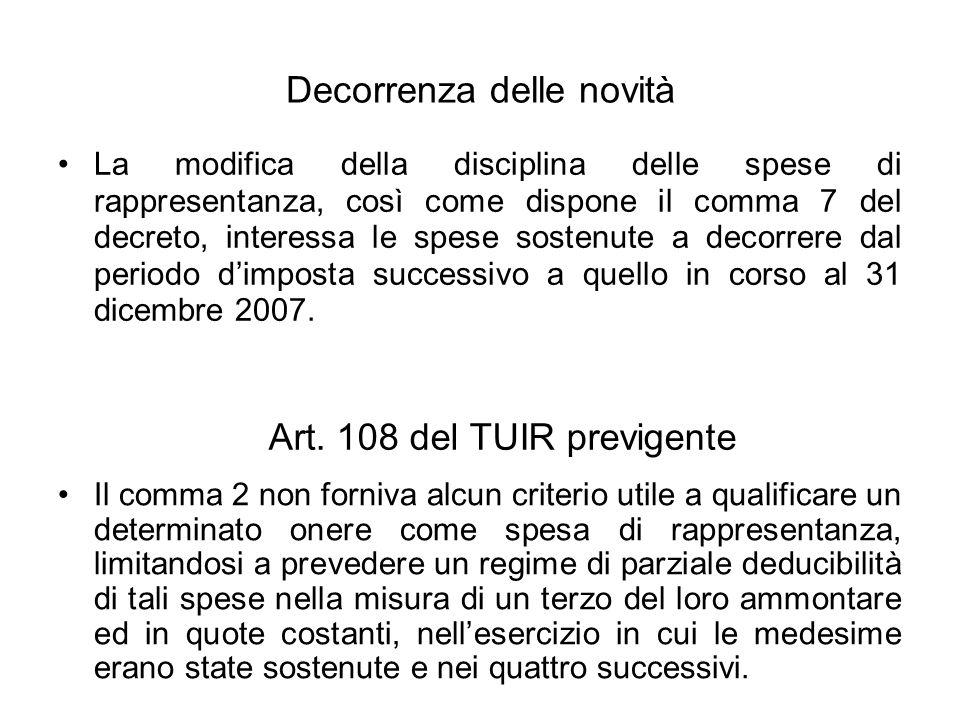 Decorrenza delle novità La modifica della disciplina delle spese di rappresentanza, così come dispone il comma 7 del decreto, interessa le spese sostenute a decorrere dal periodo dimposta successivo a quello in corso al 31 dicembre 2007.