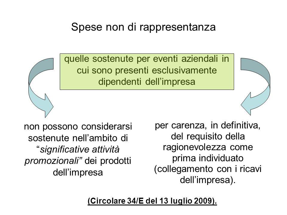 Spese non di rappresentanza (Circolare 34/E del 13 luglio 2009).