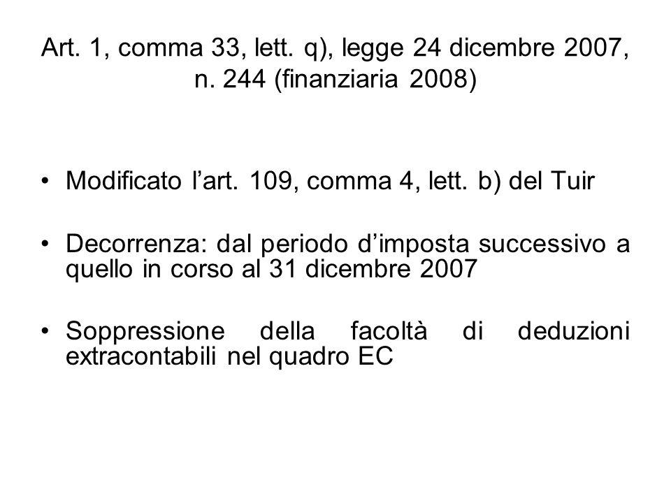 Eliminazione dal bilancio di componenti negativi Eliminazione dal bilancio desercizio dei medesimi componenti negativi che erano stati dedotti applicando il secondo comma dellart.