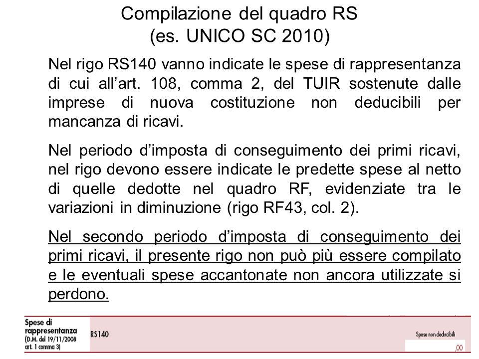 Nel rigo RS140 vanno indicate le spese di rappresentanza di cui allart.