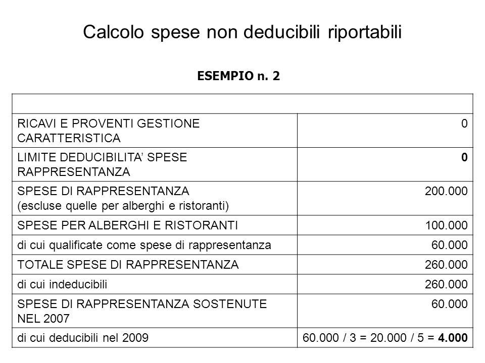 RICAVI E PROVENTI GESTIONE CARATTERISTICA 0 LIMITE DEDUCIBILITA SPESE RAPPRESENTANZA 0 SPESE DI RAPPRESENTANZA (escluse quelle per alberghi e ristoranti) 200.000 SPESE PER ALBERGHI E RISTORANTI100.000 di cui qualificate come spese di rappresentanza60.000 TOTALE SPESE DI RAPPRESENTANZA260.000 di cui indeducibili260.000 SPESE DI RAPPRESENTANZA SOSTENUTE NEL 2007 60.000 di cui deducibili nel 200960.000 / 3 = 20.000 / 5 = 4.000 Calcolo spese non deducibili riportabili ESEMPIO n.