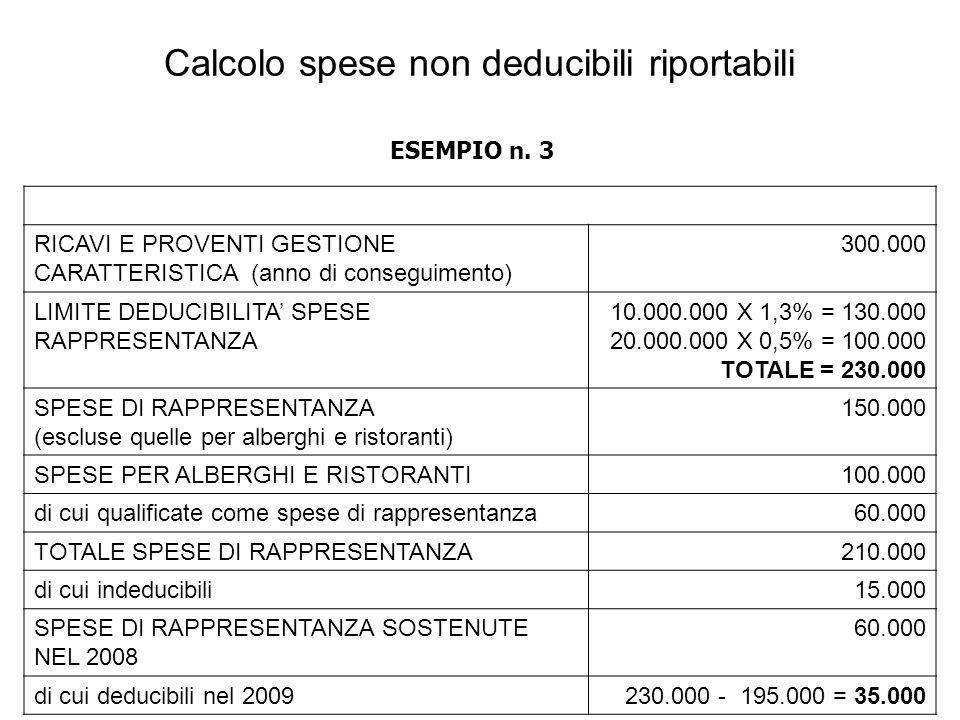 RICAVI E PROVENTI GESTIONE CARATTERISTICA (anno di conseguimento) 300.000 LIMITE DEDUCIBILITA SPESE RAPPRESENTANZA 10.000.000 X 1,3% = 130.000 20.000.000 X 0,5% = 100.000 TOTALE = 230.000 SPESE DI RAPPRESENTANZA (escluse quelle per alberghi e ristoranti) 150.000 SPESE PER ALBERGHI E RISTORANTI100.000 di cui qualificate come spese di rappresentanza60.000 TOTALE SPESE DI RAPPRESENTANZA210.000 di cui indeducibili15.000 SPESE DI RAPPRESENTANZA SOSTENUTE NEL 2008 60.000 di cui deducibili nel 2009230.000 - 195.000 = 35.000 Calcolo spese non deducibili riportabili ESEMPIO n.