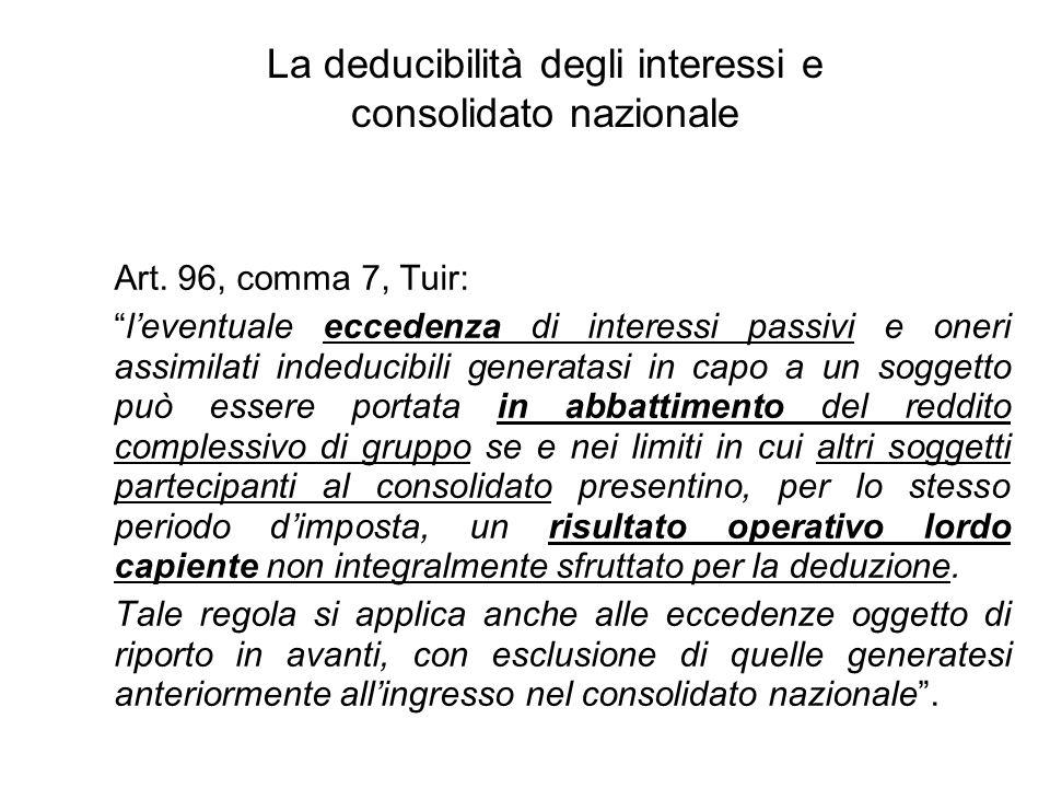 La deducibilità degli interessi e consolidato nazionale Art.