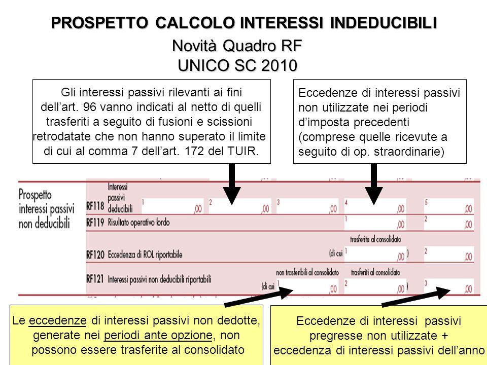 PROSPETTO CALCOLO INTERESSI INDEDUCIBILI Novità Quadro RF UNICO SC 2010 Gli interessi passivi rilevanti ai fini dellart.