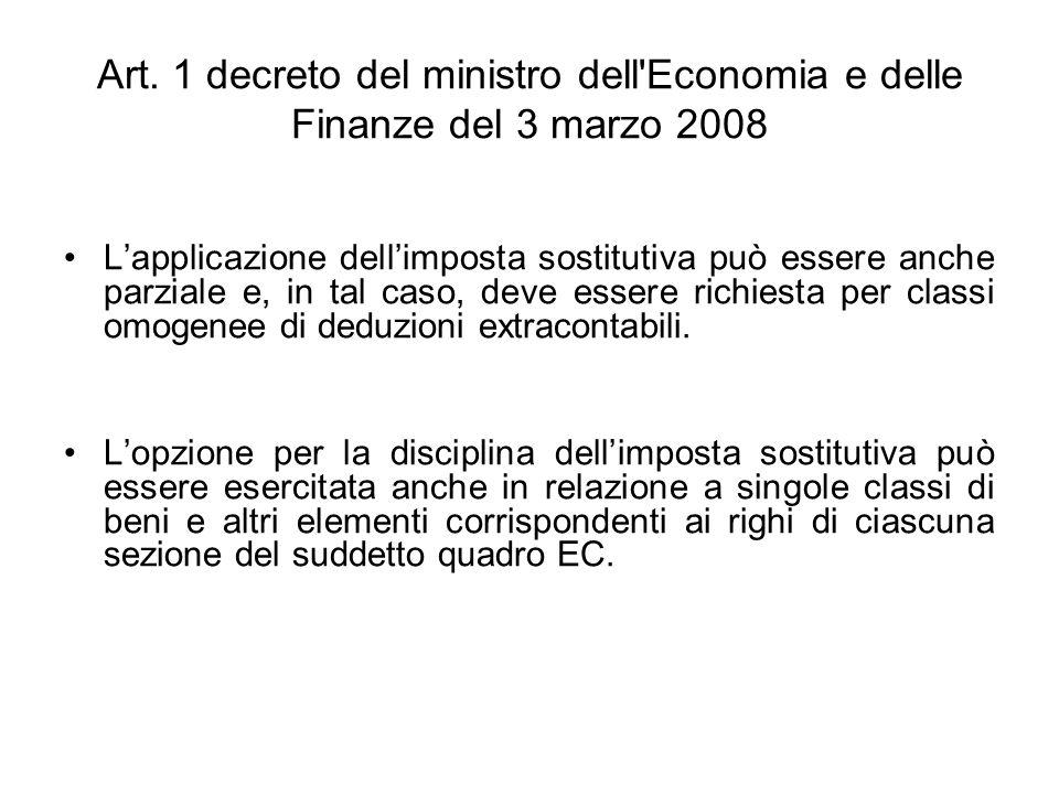 Art. 1 decreto del ministro dell'Economia e delle Finanze del 3 marzo 2008 Lapplicazione dellimposta sostitutiva può essere anche parziale e, in tal c