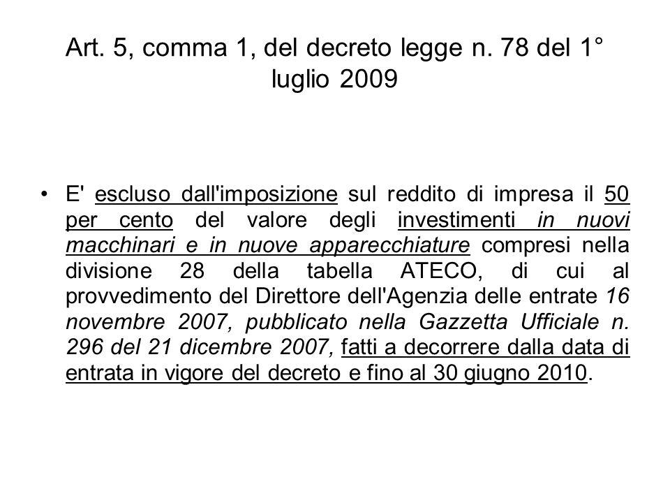 Art. 5, comma 1, del decreto legge n.
