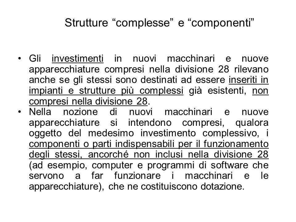 Strutture complesse e componenti Gli investimenti in nuovi macchinari e nuove apparecchiature compresi nella divisione 28 rilevano anche se gli stessi sono destinati ad essere inseriti in impianti e strutture più complessi già esistenti, non compresi nella divisione 28.