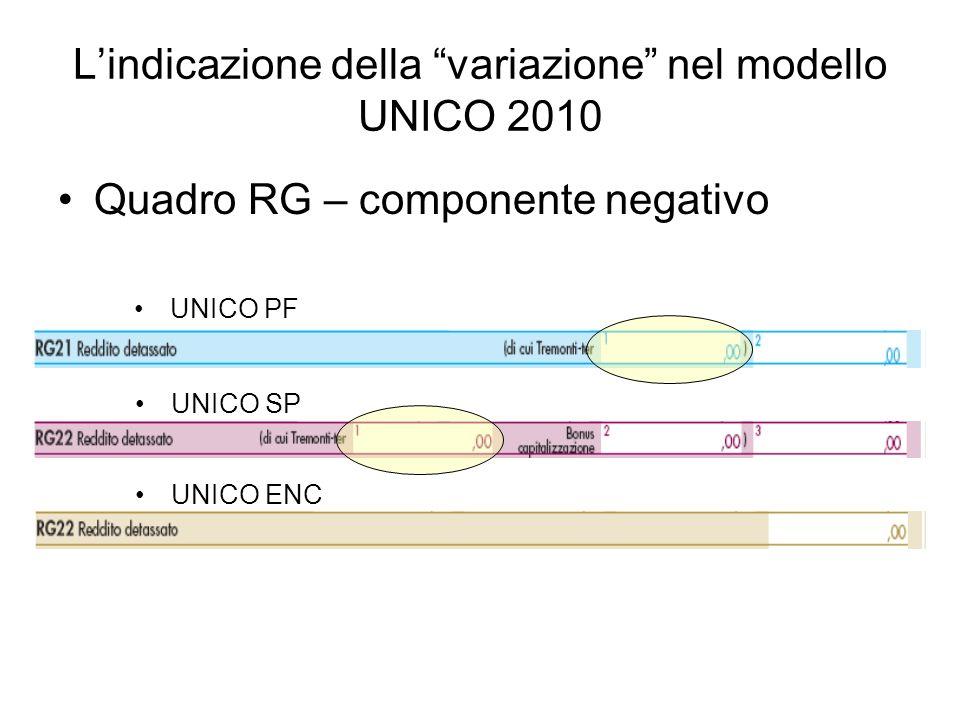 Lindicazione della variazione nel modello UNICO 2010 Quadro RG – componente negativo UNICO PF UNICO SP UNICO ENC