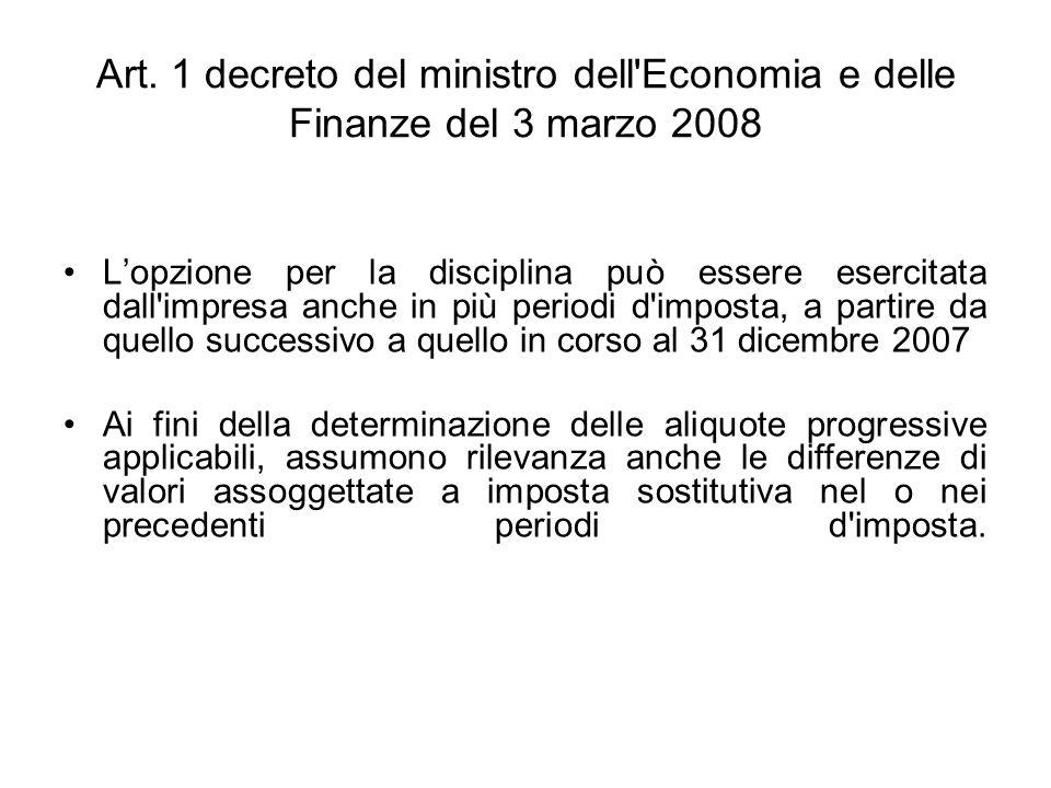 Art. 1 decreto del ministro dell'Economia e delle Finanze del 3 marzo 2008 Lopzione per la disciplina può essere esercitata dall'impresa anche in più