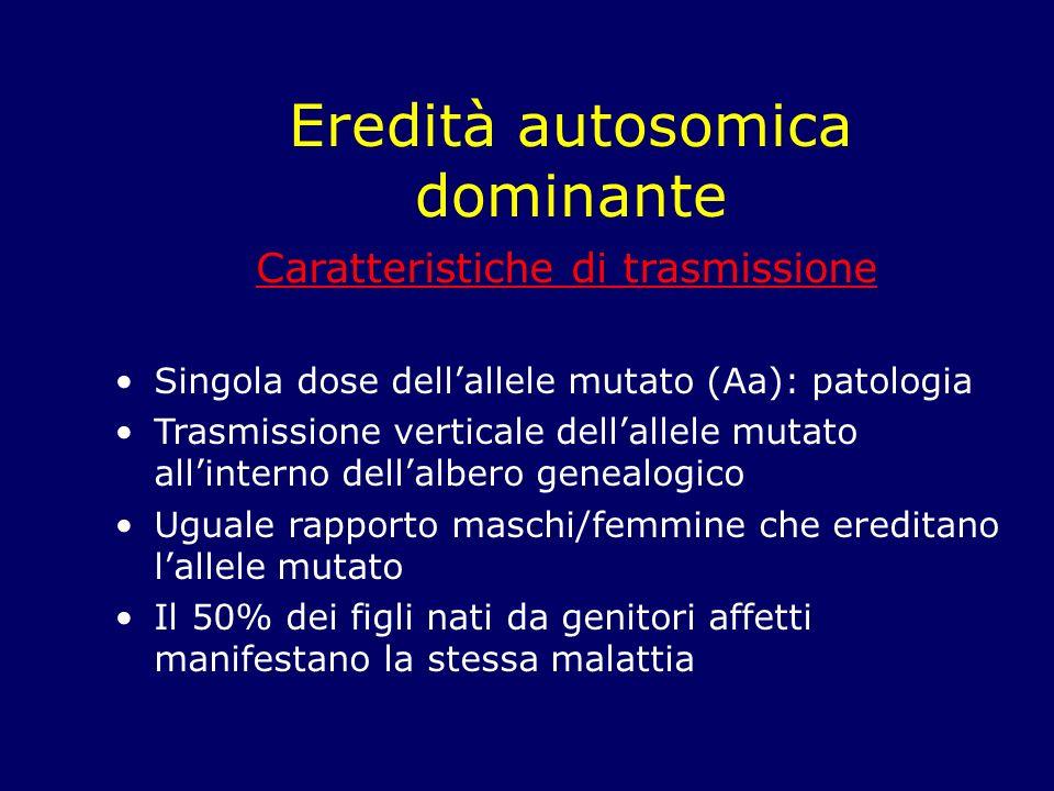 Eredità autosomica dominante Caratteristiche di trasmissione Singola dose dellallele mutato (Aa): patologia Trasmissione verticale dellallele mutato a