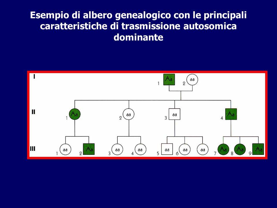 Esempio di albero genealogico con le principali caratteristiche di trasmissione autosomica dominante