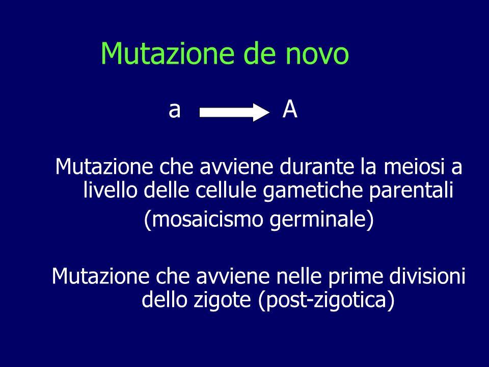 Mutazione de novo Mutazione che avviene durante la meiosi a livello delle cellule gametiche parentali (mosaicismo germinale) Mutazione che avviene nel