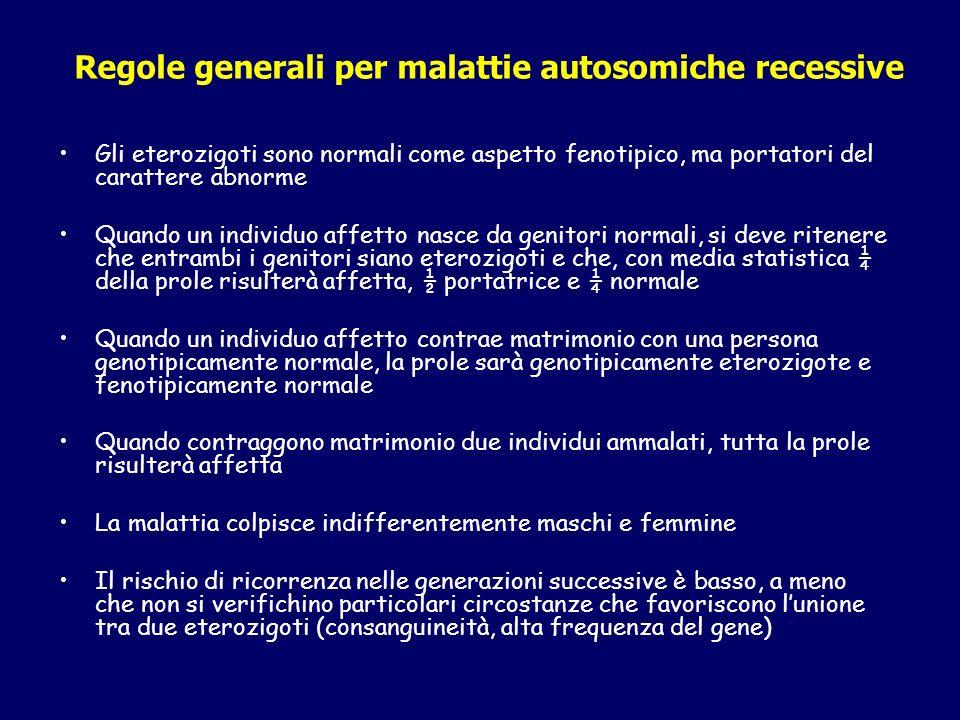 Regole generali per malattie autosomiche recessive Gli eterozigoti sono normali come aspetto fenotipico, ma portatori del carattere abnorme Quando un