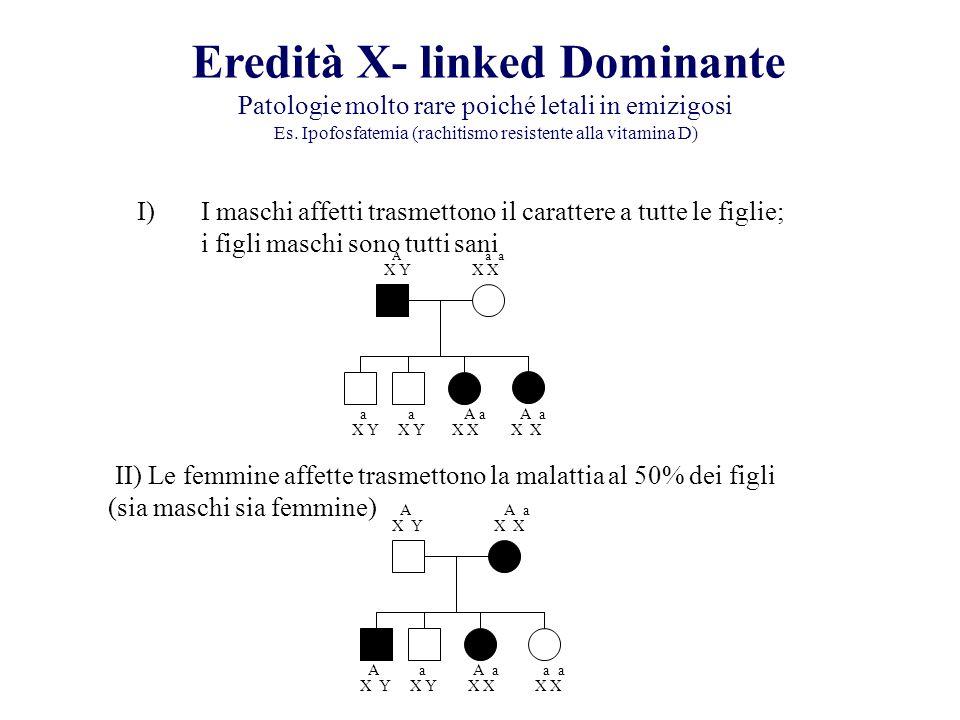 Eredità X- linked Dominante Patologie molto rare poiché letali in emizigosi Es. Ipofosfatemia (rachitismo resistente alla vitamina D) I)I maschi affet