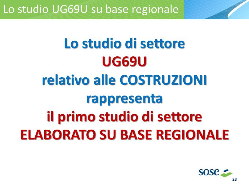 Lo studio UG69U su base regionale Lo studio di settore UG69U relativo alle COSTRUZIONI rappresenta il primo studio di settore ELABORATO SU BASE REGION