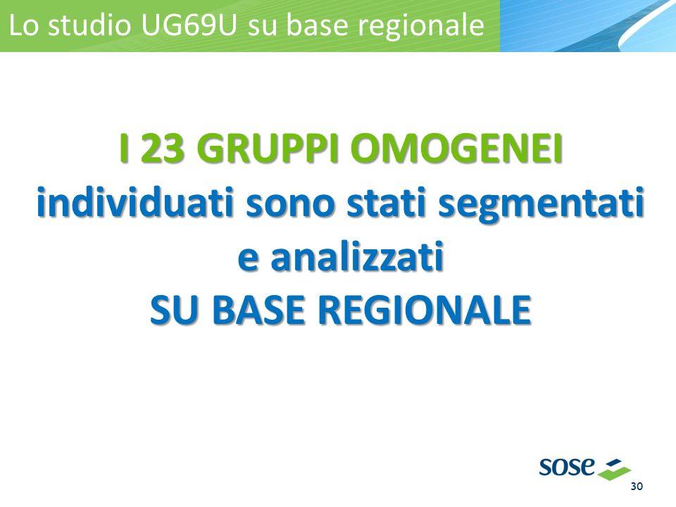 I 23 GRUPPI OMOGENEI individuati sono stati segmentati e analizzati SU BASE REGIONALE I gruppi omogenei regionali Lo studio UG69U su base regionale 30