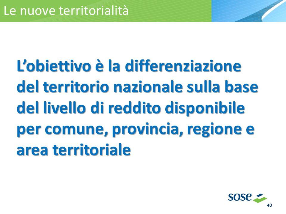 Lobiettivo è la differenziazione del territorio nazionale sulla base del livello di reddito disponibile per comune, provincia, regione e area territoriale La territorialità Le nuove territorialità 40
