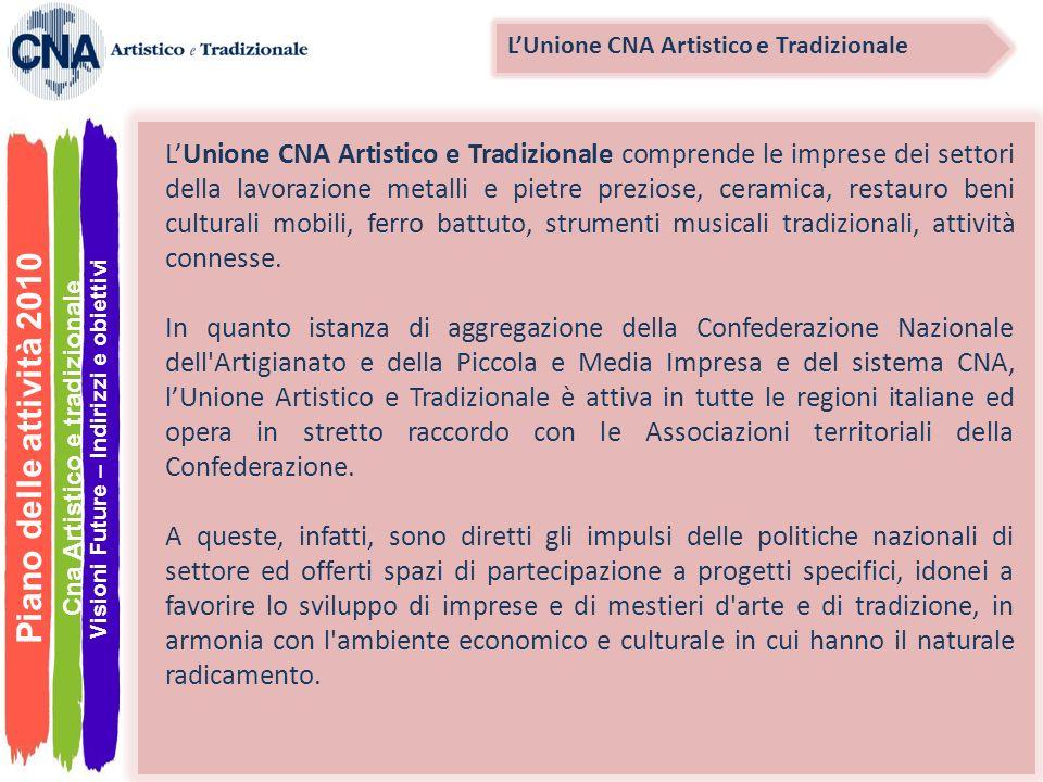 Piano delle attività 2010 LUnione CNA Artistico e Tradizionale comprende le imprese dei settori della lavorazione metalli e pietre preziose, ceramica,