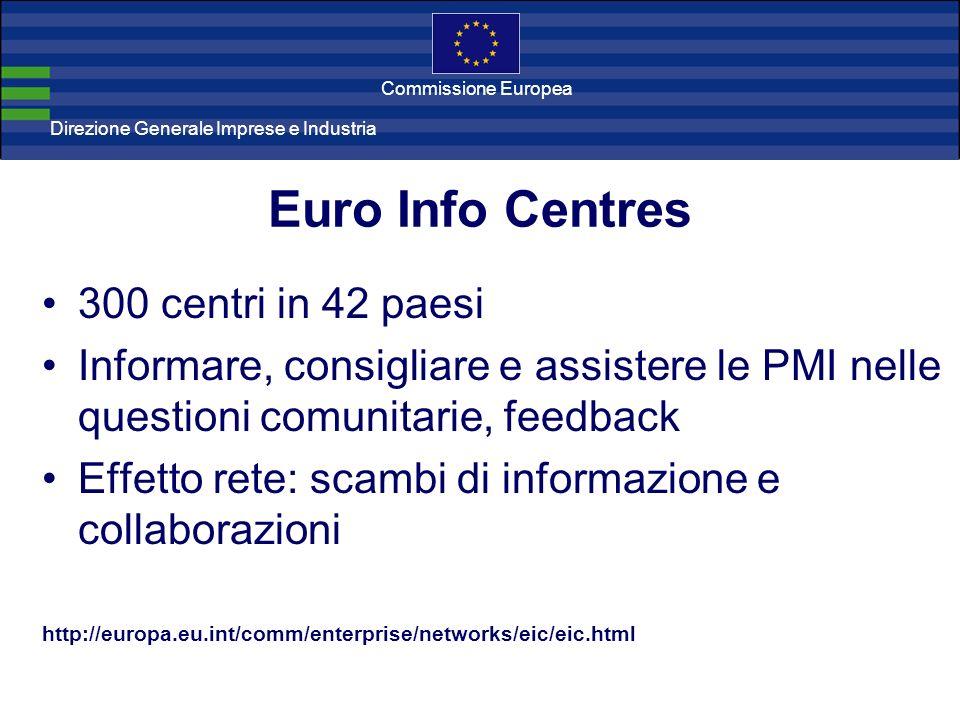 Direzione Generale Imprese Direzione Generale Imprese e Industria Commissione Europea Euro Info Centres 300 centri in 42 paesi Informare, consigliare e assistere le PMI nelle questioni comunitarie, feedback Effetto rete: scambi di informazione e collaborazioni http://europa.eu.int/comm/enterprise/networks/eic/eic.html