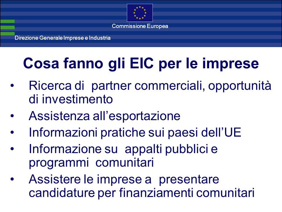 Direzione Generale Imprese Direzione Generale Imprese e Industria Commissione Europea Ricerca di partner commerciali, opportunità di investimento Assistenza allesportazione Informazioni pratiche sui paesi dellUE Informazione su appalti pubblici e programmi comunitari Assistere le imprese a presentare candidature per finanziamenti comunitari Cosa fanno gli EIC per le imprese