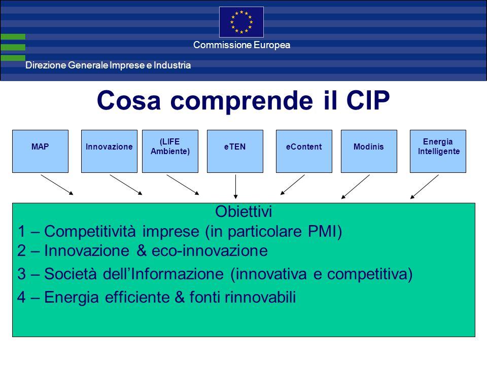 Direzione Generale Imprese Direzione Generale Imprese e Industria Commissione Europea Cosa comprende il CIP MAP Obiettivi 1 – Competitività imprese (in particolare PMI) 2 – Innovazione & eco-innovazione 3 – Società dellInformazione (innovativa e competitiva) 4 – Energia efficiente & fonti rinnovabili Innovazione (LIFE Ambiente) eTENeContentModinis Energia Intelligente