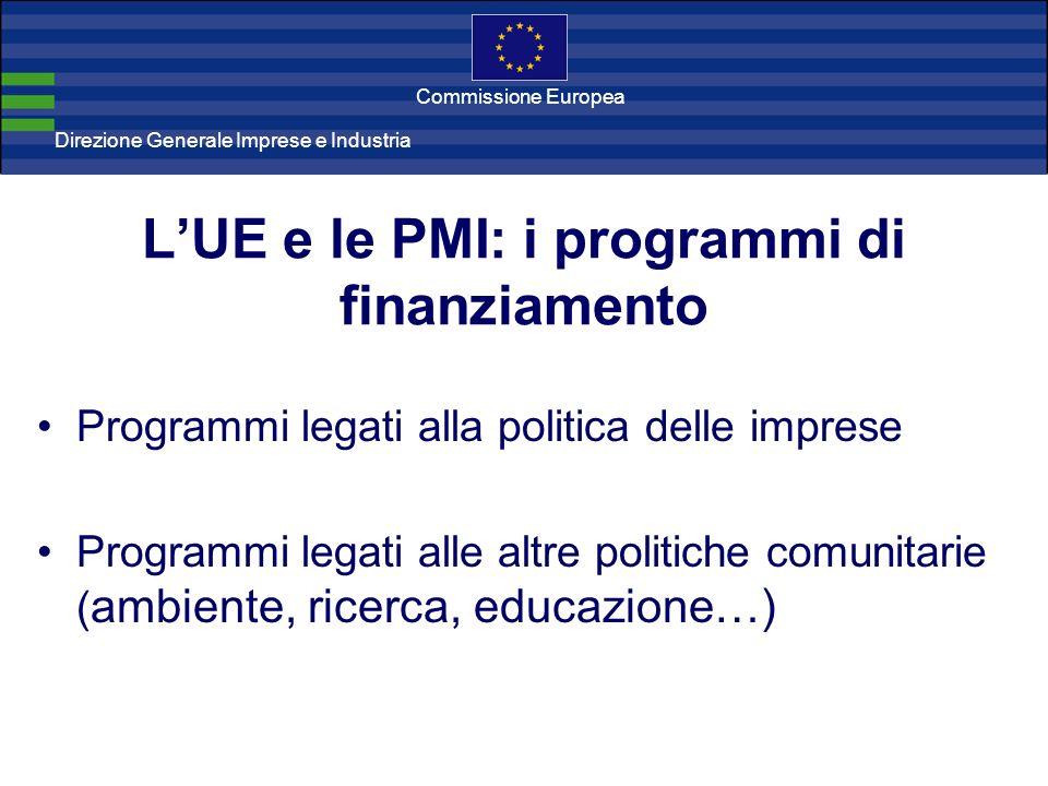 Direzione Generale Imprese Direzione Generale Imprese e Industria Commissione Europea LUE e le PMI: i programmi di finanziamento Programmi legati alla politica delle imprese Programmi legati alle altre politiche comunitarie ( ambiente, ricerca, educazione…)