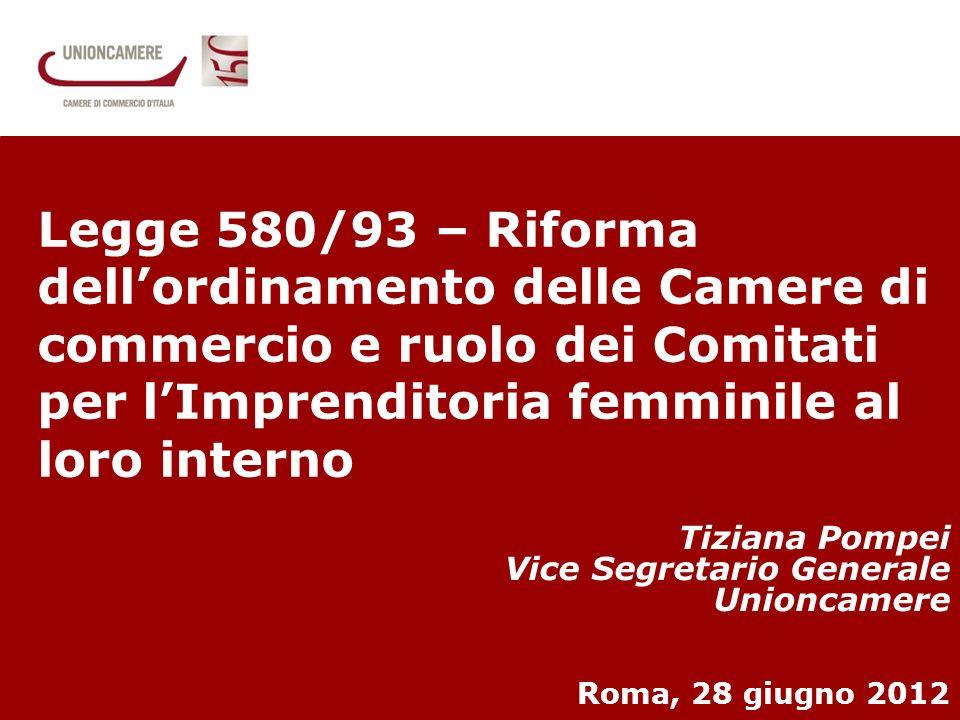 1 Il primo giro dItalia delle donne che fanno impresa Tiziana Pompei Vice Segretario Generale Unioncamere Roma, 28 giugno 2012 Legge 580/93 – Riforma dellordinamento delle Camere di commercio e ruolo dei Comitati per lImprenditoria femminile al loro interno