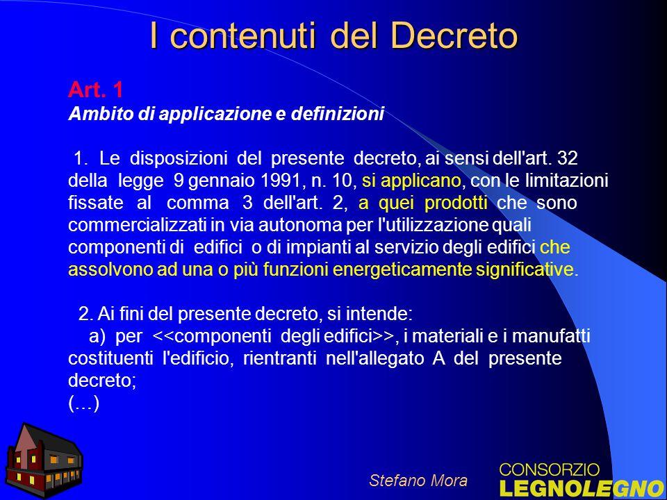 I contenuti del Decreto Art.1 Ambito di applicazione e definizioni 1.