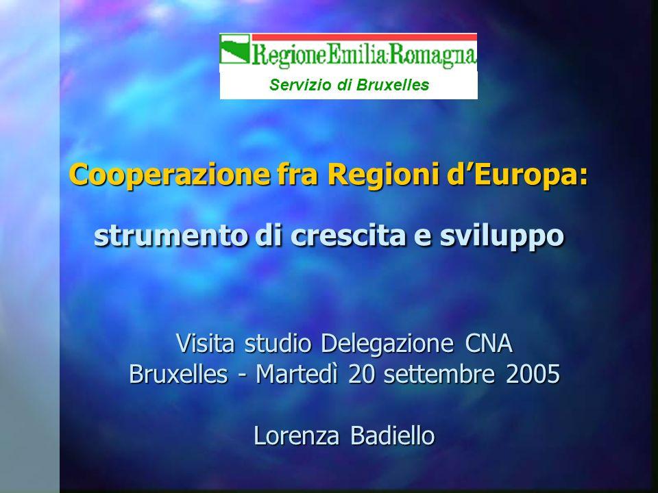 Visita studio Delegazione CNA Bruxelles - Martedì 20 settembre 2005 Lorenza Badiello Servizio di Bruxelles Cooperazione fra Regioni dEuropa: strumento di crescita e sviluppo