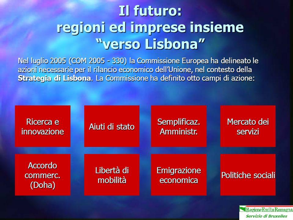 Servizio di Bruxelles Il futuro: regioni ed imprese insieme verso Lisbona Nel luglio 2005 (COM 2005 - 330) la Commissione Europea ha delineato le azioni necessarie per il rilancio economico dellUnione, nel contesto della Strategia di Lisbona.