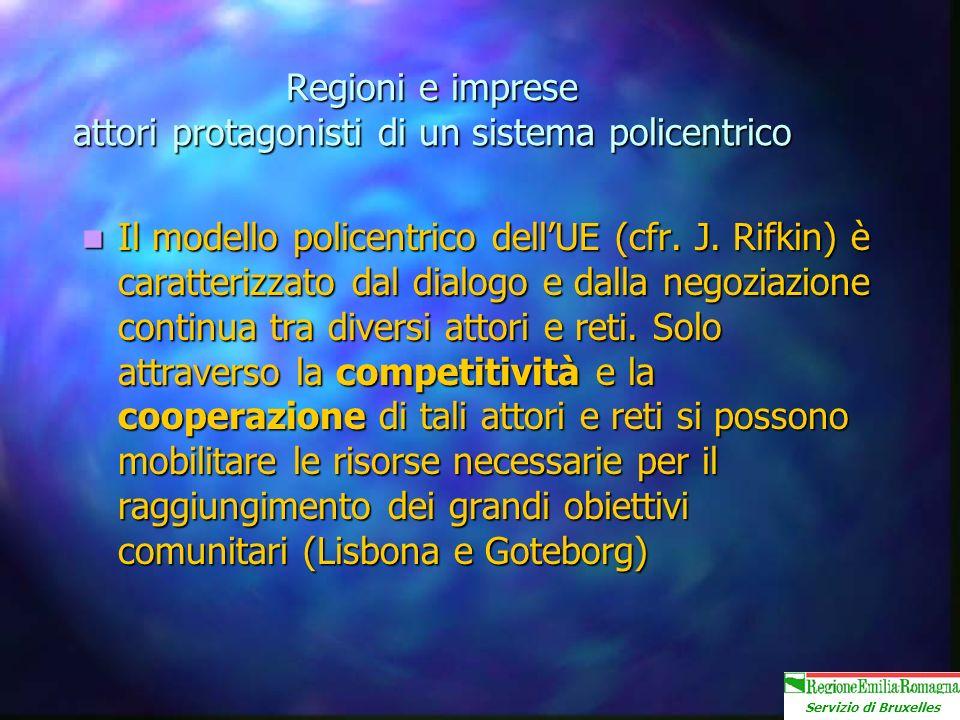 Servizio di Bruxelles Regioni e imprese attori protagonisti di un sistema policentrico Il modello policentrico dellUE (cfr.