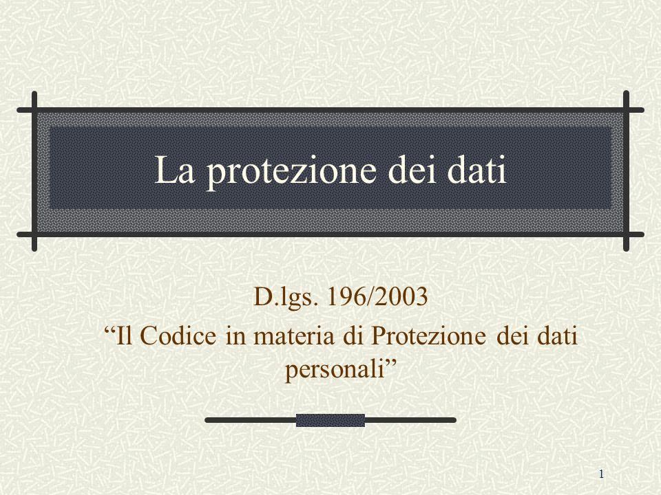 1 La protezione dei dati D.lgs. 196/2003 Il Codice in materia di Protezione dei dati personali