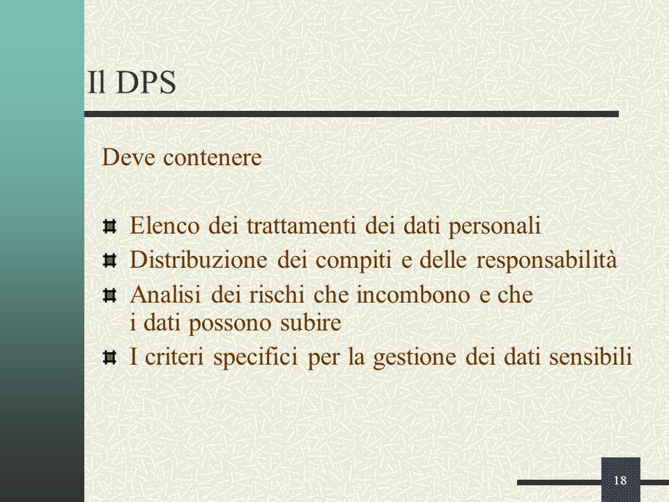 18 Il DPS Deve contenere Elenco dei trattamenti dei dati personali Distribuzione dei compiti e delle responsabilità Analisi dei rischi che incombono e che i dati possono subire I criteri specifici per la gestione dei dati sensibili