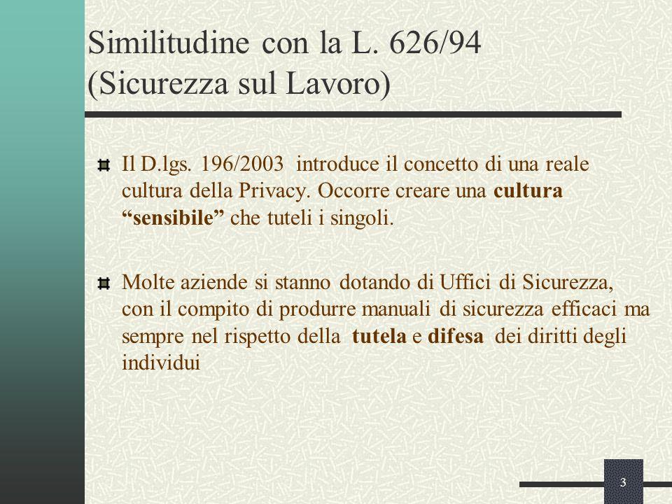 3 Similitudine con la L. 626/94 (Sicurezza sul Lavoro) Il D.lgs.