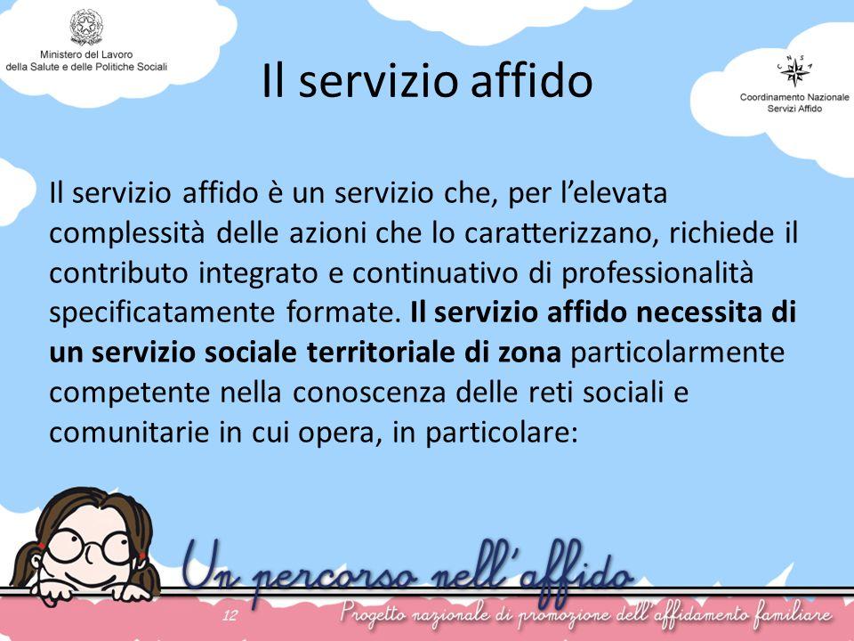 Il servizio affido 12 Il servizio affido è un servizio che, per lelevata complessità delle azioni che lo caratterizzano, richiede il contributo integr