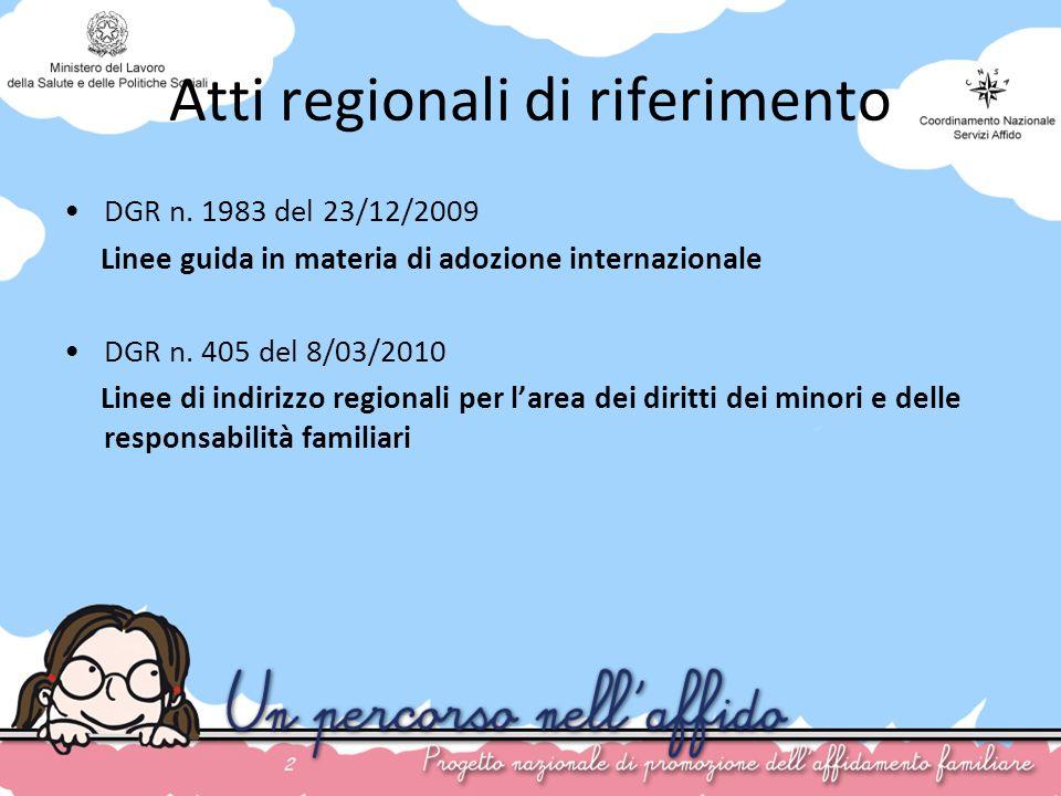 Atti regionali di riferimento DGR n. 1983 del 23/12/2009 Linee guida in materia di adozione internazionale DGR n. 405 del 8/03/2010 Linee di indirizzo