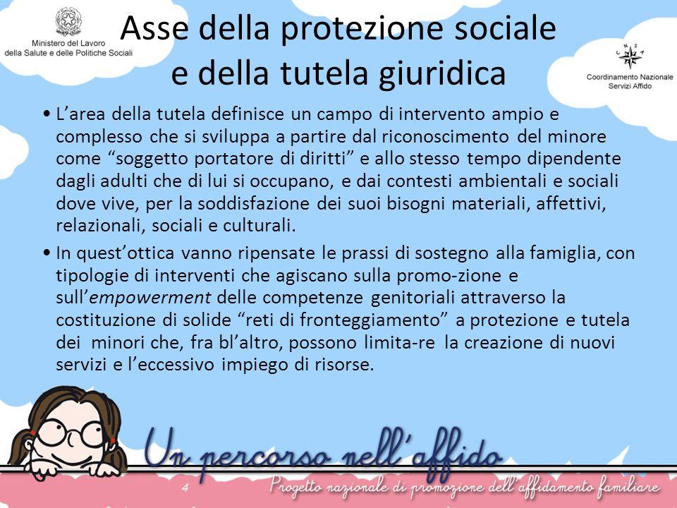 4 Asse della protezione sociale e della tutela giuridica Larea della tutela definisce un campo di intervento ampio e complesso che si sviluppa a parti