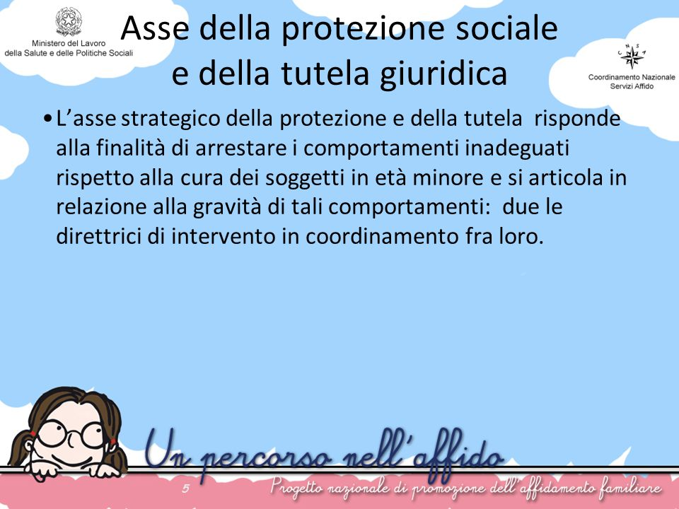 5 Asse della protezione sociale e della tutela giuridica Lasse strategico della protezione e della tutela risponde alla finalità di arrestare i compor