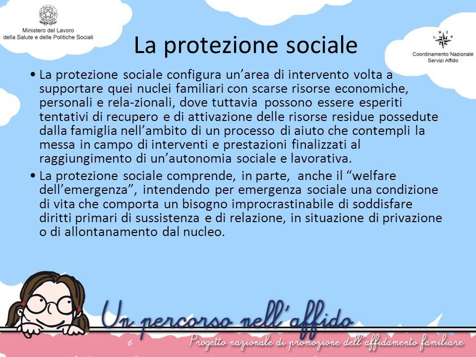 6 La protezione sociale La protezione sociale configura unarea di intervento volta a supportare quei nuclei familiari con scarse risorse economiche, p