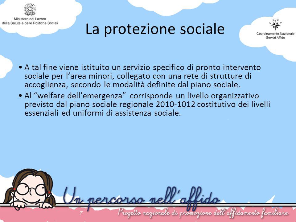 7 La protezione sociale A tal fine viene istituito un servizio specifico di pronto intervento sociale per larea minori, collegato con una rete di stru