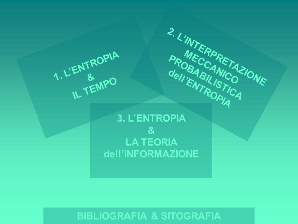 1. LENTROPIA & IL TEMPO BIBLIOGRAFIA & SITOGRAFIA 3. LENTROPIA & LA TEORIA dellINFORMAZIONE 2. LINTERPRETAZIONE MECCANICO PROBABILISTICA dellENTROPIA
