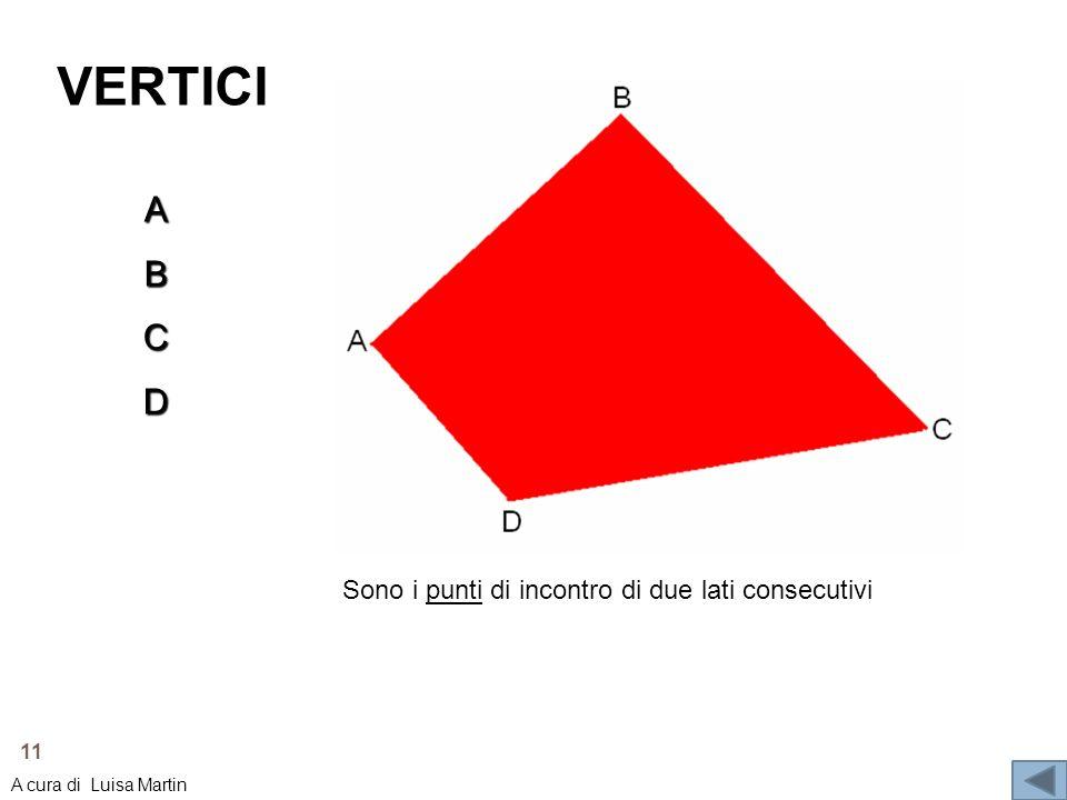 VERTICI Sono i punti di incontro di due lati consecutivi ABCD 11 A cura di Luisa Martin