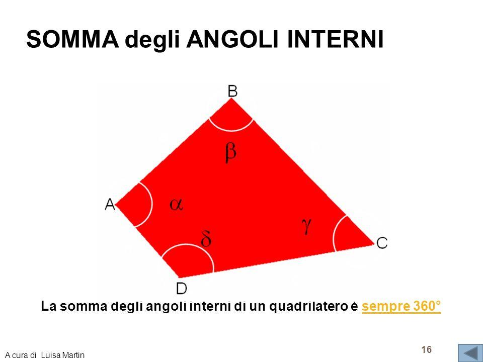 SOMMA degli ANGOLI INTERNI La somma degli angoli interni di un quadrilatero è sempre 360°sempre 360° 16 A cura di Luisa Martin