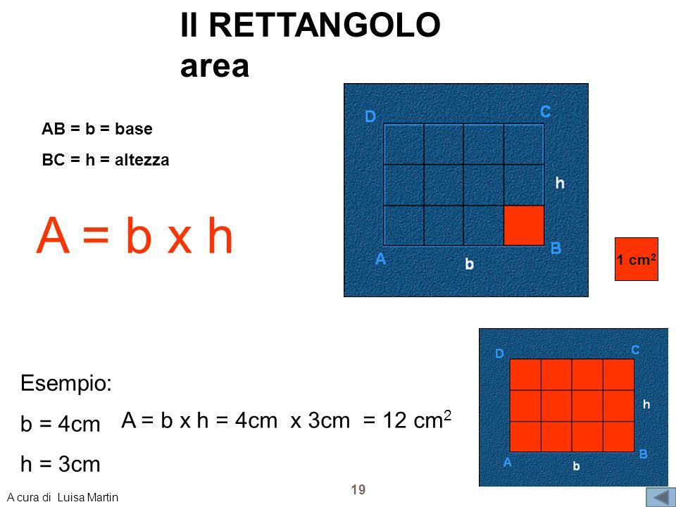 Il RETTANGOLO area 1 cm 2 AB = b = base BC = h = altezza A = b x h Esempio: b = 4cm h = 3cm A = b x h = 4cm x 3cm = 12 cm 2 19 A cura di Luisa Martin