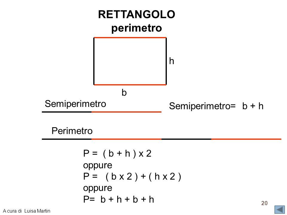 RETTANGOLO perimetro Semiperimetro= b + h Semiperimetro Perimetro P = ( b + h ) x 2 oppure P = ( b x 2 ) + ( h x 2 ) oppure P= b + h + b + h b h 20 A
