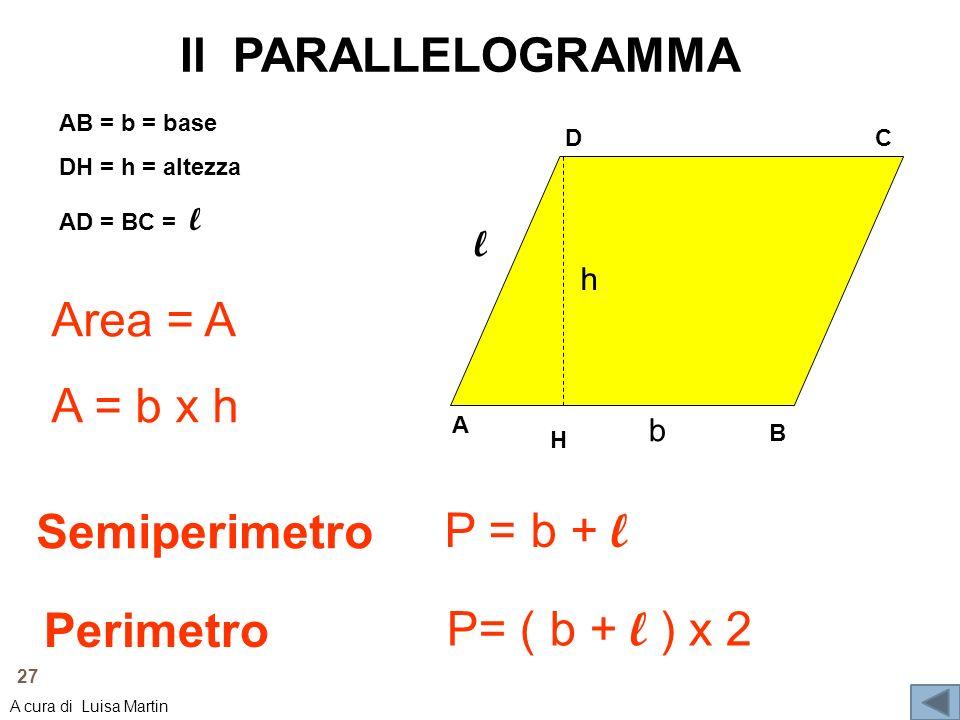Il PARALLELOGRAMMA A DC B l b h AB = b = base DH = h = altezza AD = BC = l Area = A A = b x h P = b + l Semiperimetro Perimetro P= ( b + l ) x 2 H 27