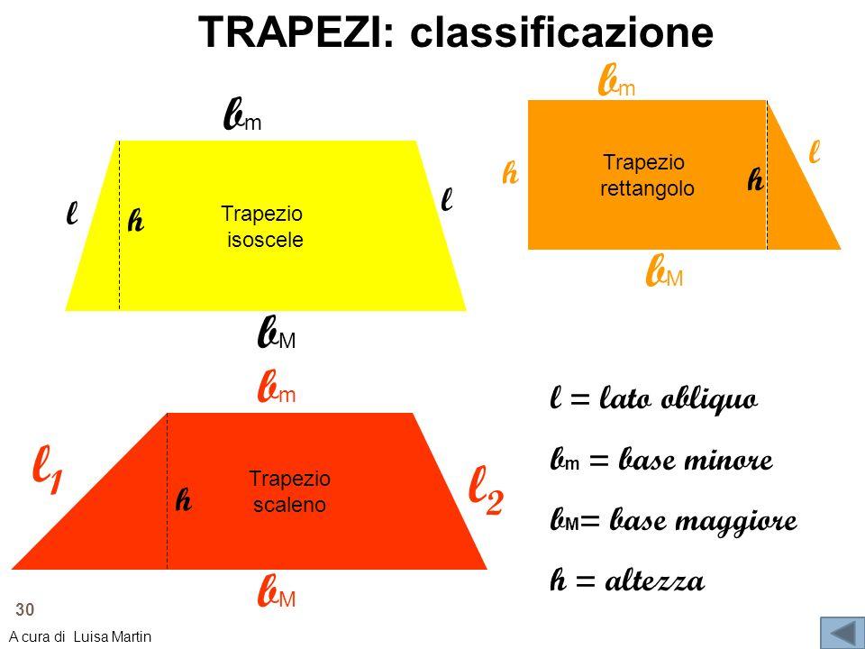 TRAPEZI: classificazione Trapezio isoscele Trapezio rettangolo Trapezio scaleno bMbM bmbm l bMbM bmbm l bMbM l l1l1 l2l2 bmbm h h h h l = lato obliquo
