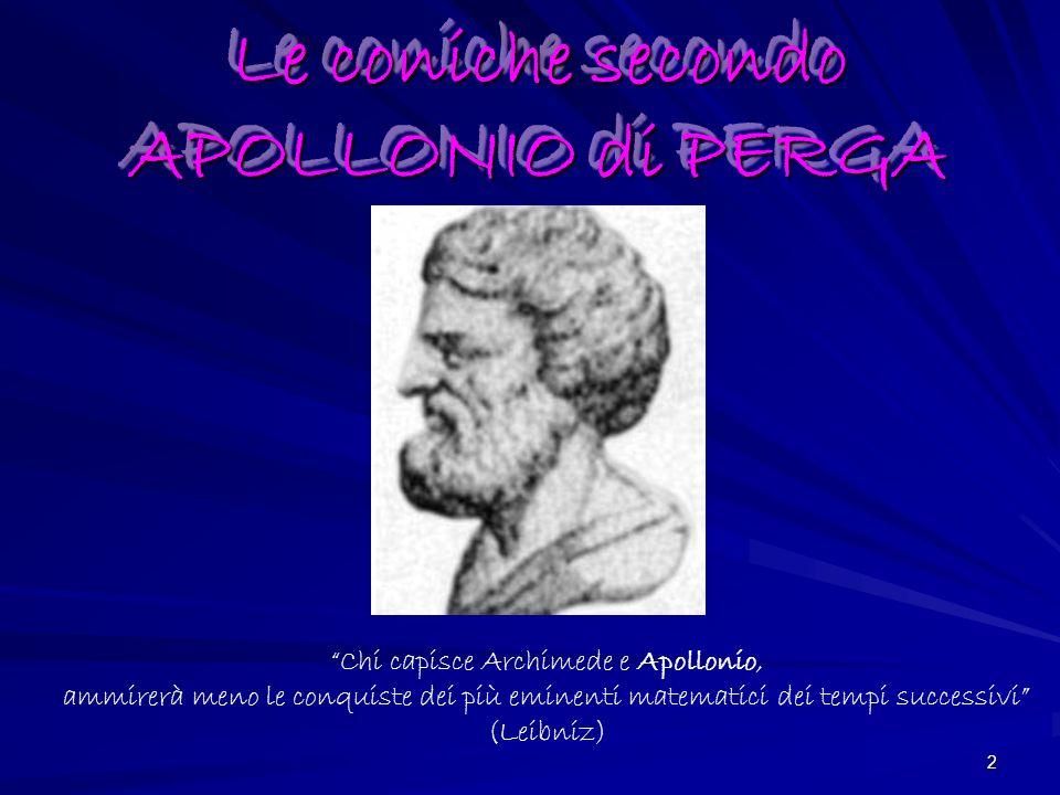 2 Le coniche secondo APOLLONIO di PERGA Chi capisce Archimede e Apollonio, ammirerà meno le conquiste dei più eminenti matematici dei tempi successivi (Leibniz)