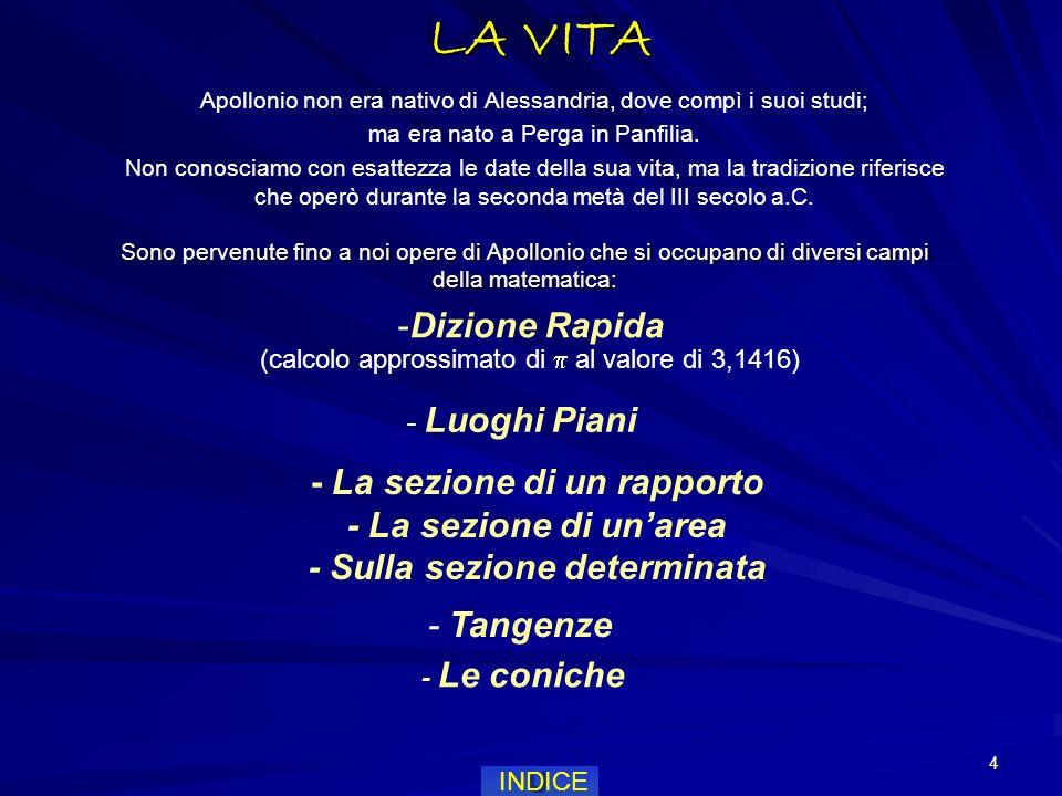 4 LA VITA Apollonio non era nativo di Alessandria, dove compì i suoi studi; ma era nato a Perga in Panfilia.