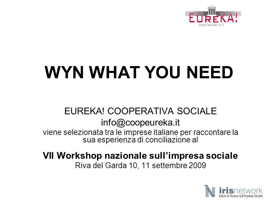 Cooperativa Sociale Eureka Fondata a San Donato Milanese nel 1993 Da tre a 260 persone Fatturato: oltre 5 milioni di euro Prodotto sociale annuale: oltre tremila beneficiari dei servizi